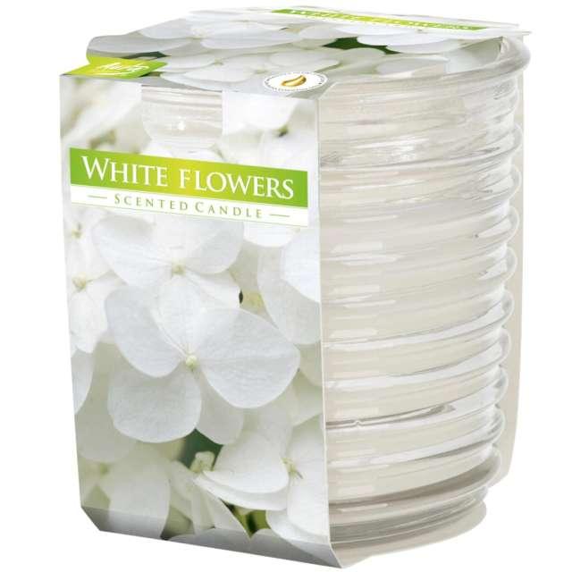 """Świeca zapachowa w karbowanym szkle """"Białe kwiaty"""", Bispol, 8 cm"""