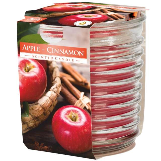 """Świeca zapachowa w karbowanym szkle """"Jabłko z cynamonem"""", Bispol, 8 cm"""