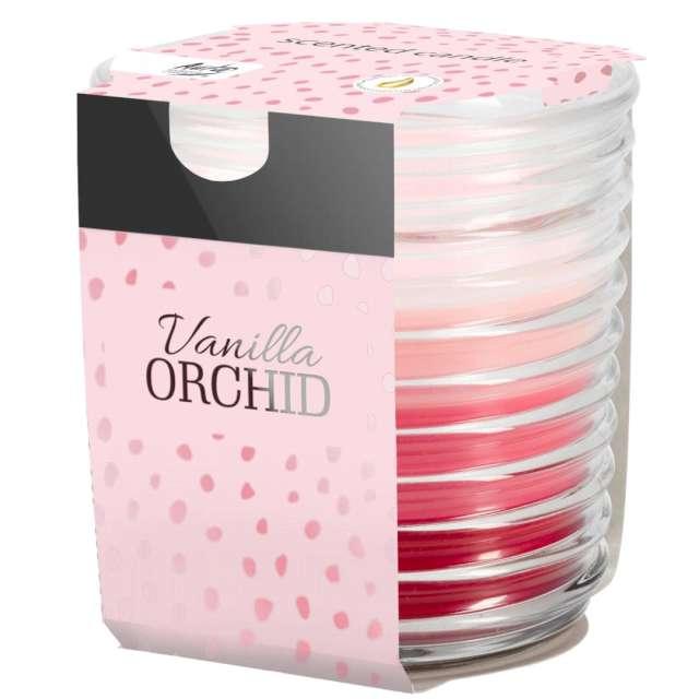 """Świeca zapachowa w karbowanym szkle """"Wanilia z orchideą"""", Bispol, 8 cm"""