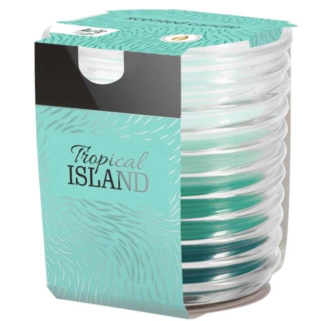Świeca zapachowa w karbowanym szkle Tropikalna wyspa Bispol 8 cm