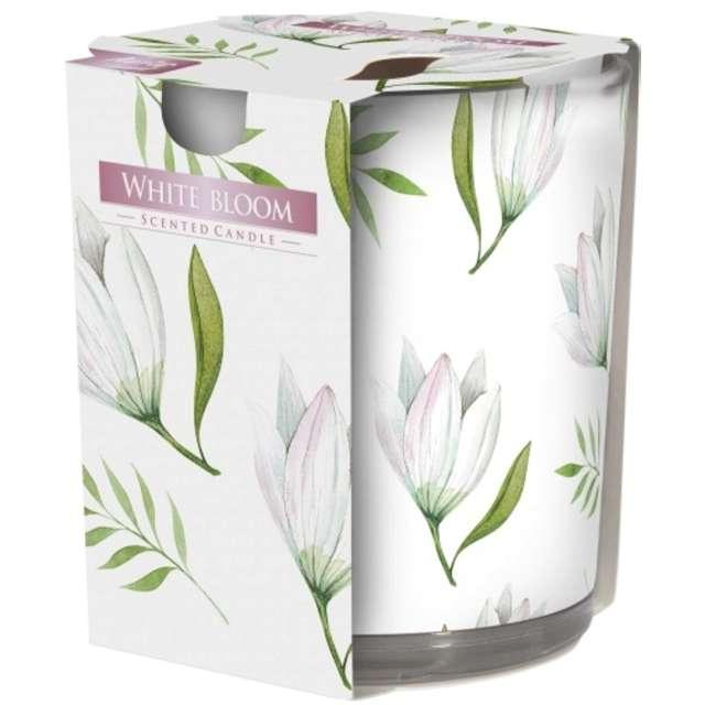 Świeca zapachowa w szkle z nadrukiem Biały Rozkwit Bispol 8 cm