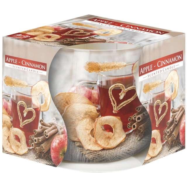 """Świeca zapachowa w graficznym szkle """"Jabłko z cynamonem"""", Bispol, 7 cm"""