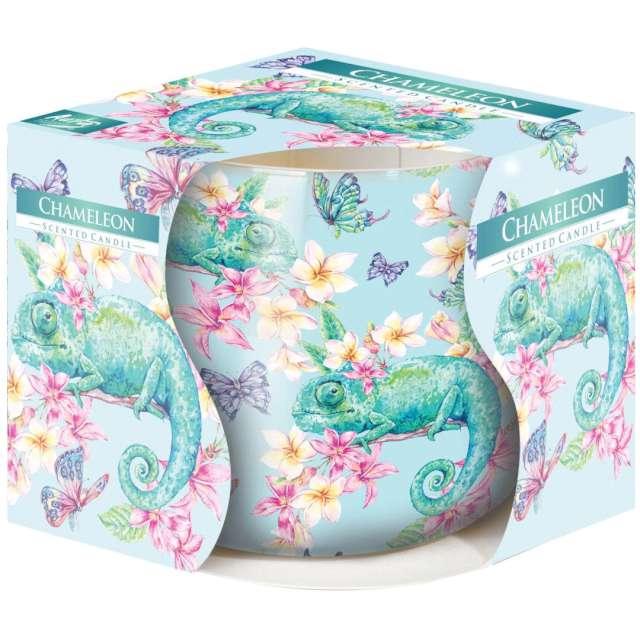 """Świeca zapachowa w graficznym szkle """"Kameleon"""", Bispol, 7 cm"""