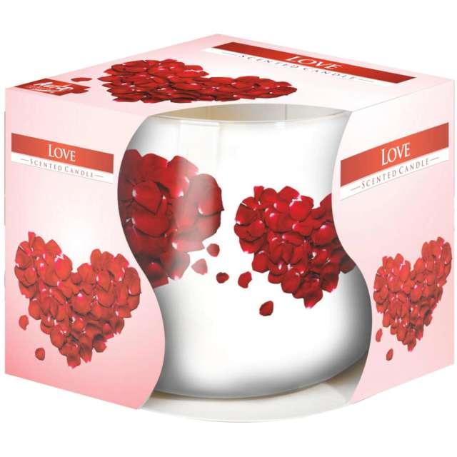 """Świeca zapachowa w graficznym szkle """"LOVE"""", Bispol, 7 cm"""