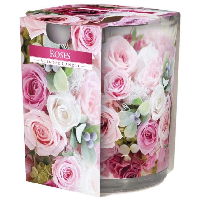 """Świeca zapachowa w szkle z nadrukiem """"Róża"""", Bispol, 8 cm"""