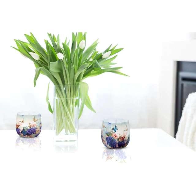Świeca zapachowa w graficznym szkle Sweet home Bispol 7 cm