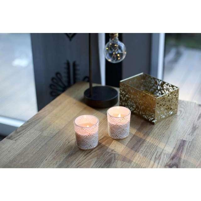 Świeca zapachowa w szkle z nadrukiem VINTAGE Bispol 8 cm