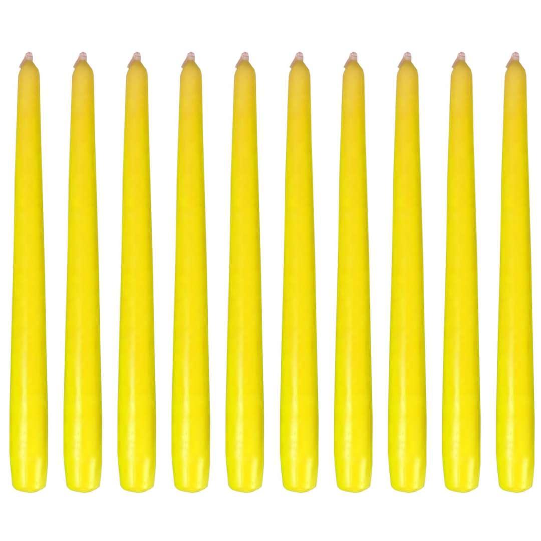 """Świeczki """"Stożkowe Classic"""", żółte, Bispol, 10 szt"""