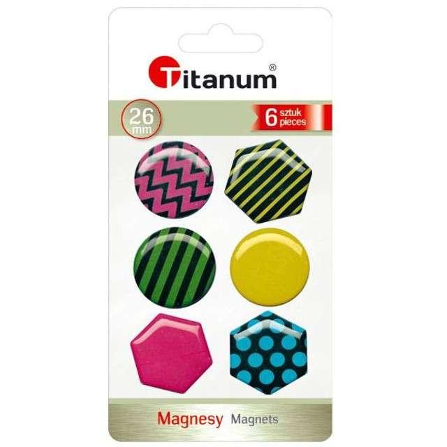 Magnesy Okrągłe i sześciokątne+wzory geometryczne kolor mix Titanum 26 mm. 6 szt