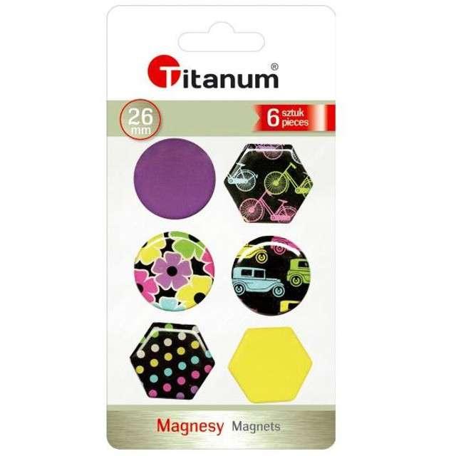 Magnesy Okrągłe i sześciokątne+kolorowe rysunki kolor mix Titanum 26 mm. 6 szt
