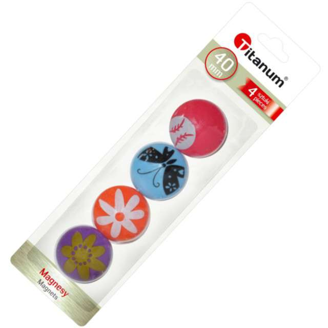 Magnesy Okrągłe wiosenne wzorki kolor mix Titanum 40 mm. 4 szt