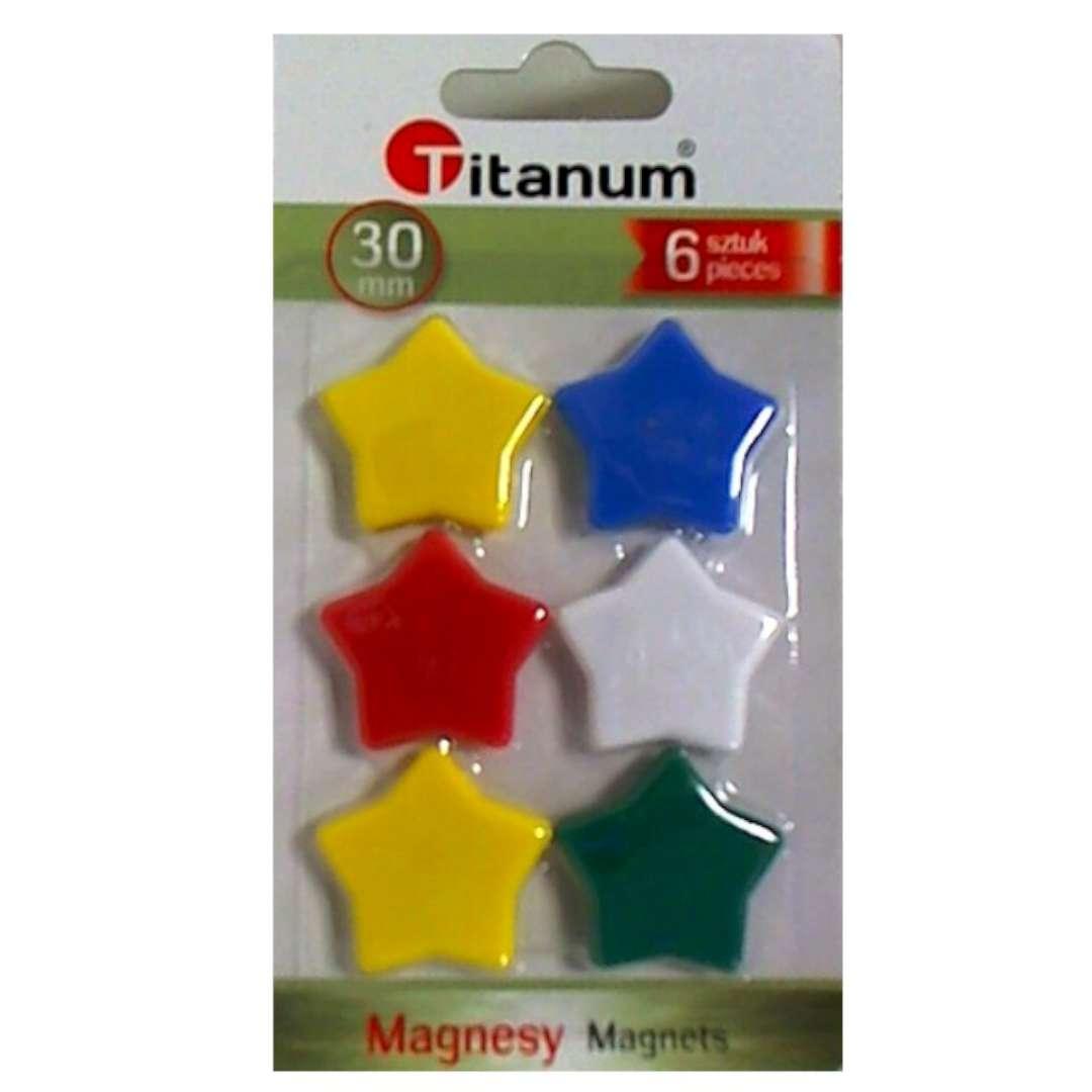 Magnesy Gwiazdy kolor mix Titanum 30 mm. 6 szt