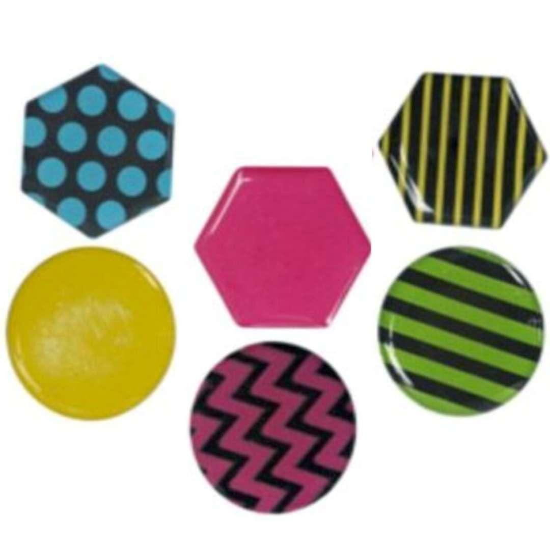 """Magnesy """"Okrągłe i sześciokątne+wzory geometryczne"""", kolor mix, Titanum, 26 mm. 6 szt"""