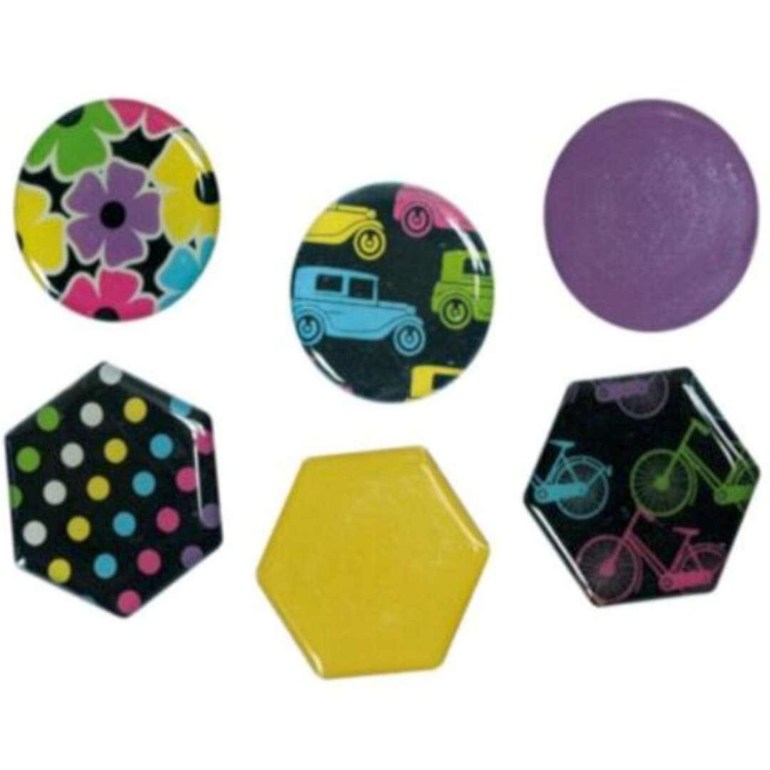 """Magnesy """"Okrągłe i sześciokątne+kolorowe rysunki"""", kolor mix, Titanum, 26 mm. 6 szt"""