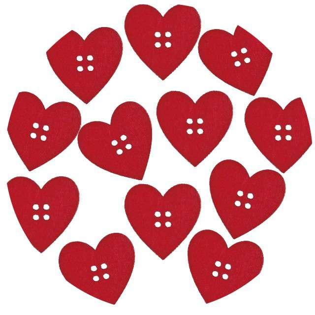 """Guziki """"Kreatywne serca"""", czerwone, Titanum, 12 szt"""