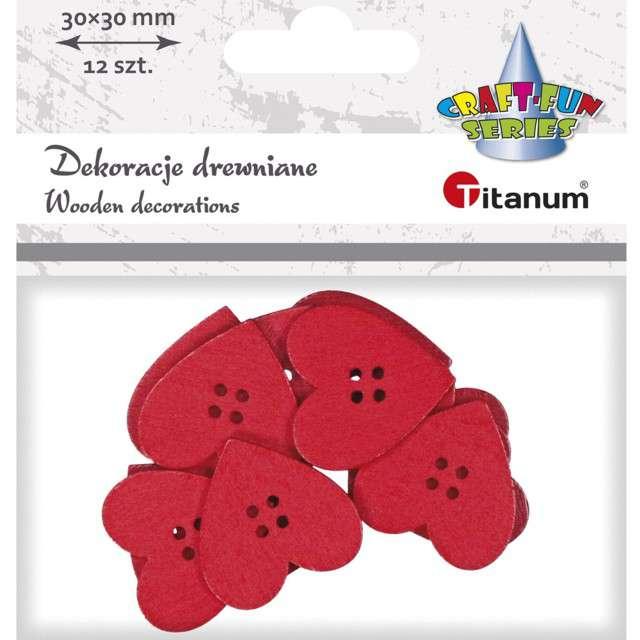 Guziki Kreatywne serca czerwone Titanum 12 szt