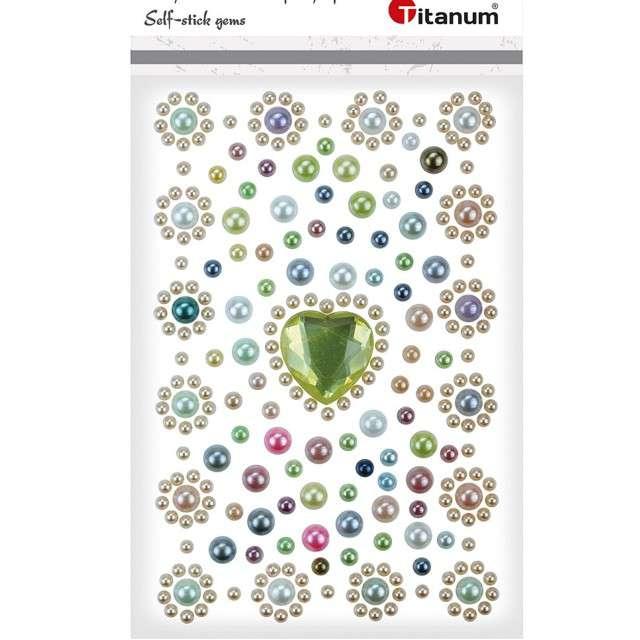 Dżety samoprzylepne Perełki i kryształowe serduszko mix Titanum
