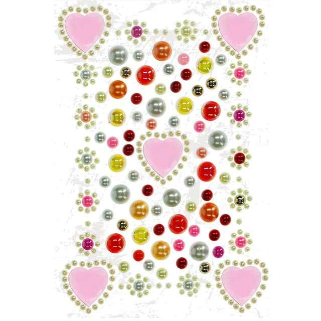 Dżety samoprzylepne Perełki i różowe serduszka mix Titanum