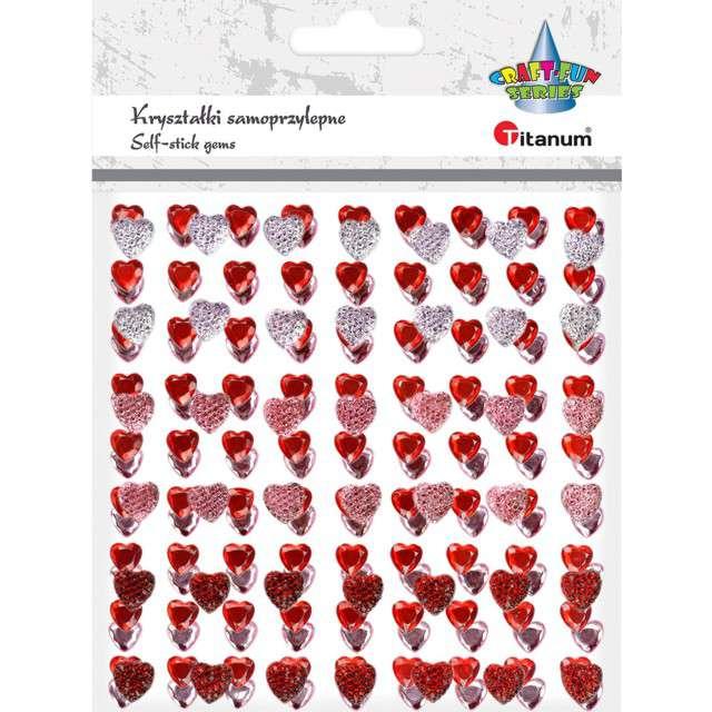 Dżety samoprzylepne Kryształowe i czerwone serca mix Titanum