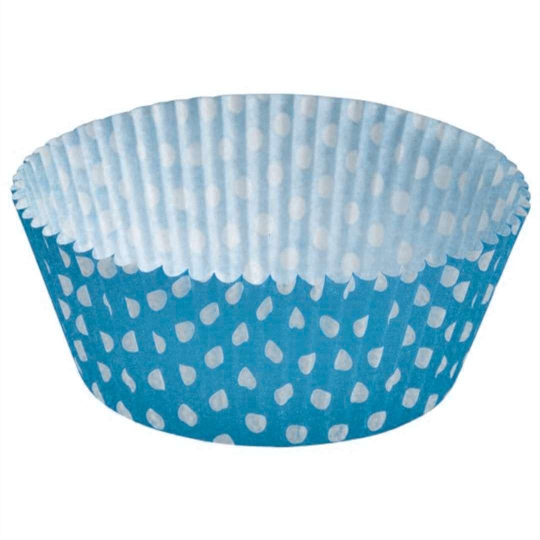 Foremki na muffinki Białe kropki niebieski Amscan 48 szt