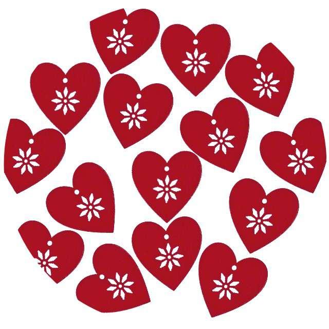 """Scrapki drewniane """"Serce z kwiatkiem"""", czerwone, 15 szt"""