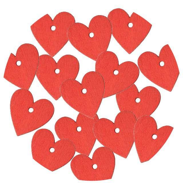 """Scrapki drewniane """"Serce z dziurką"""", czerwone, 15 szt"""