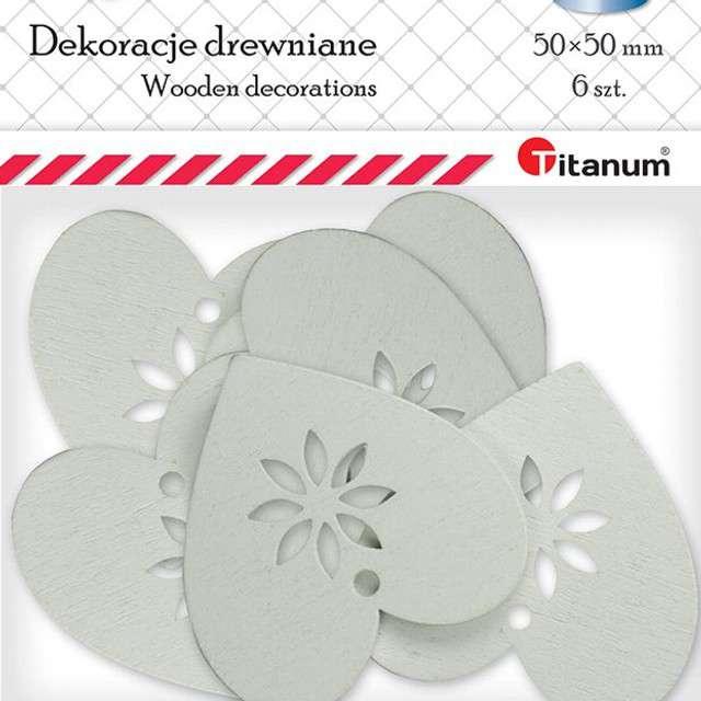 Scrapki drewniane Serce z kwiatkiem białe 6 szt