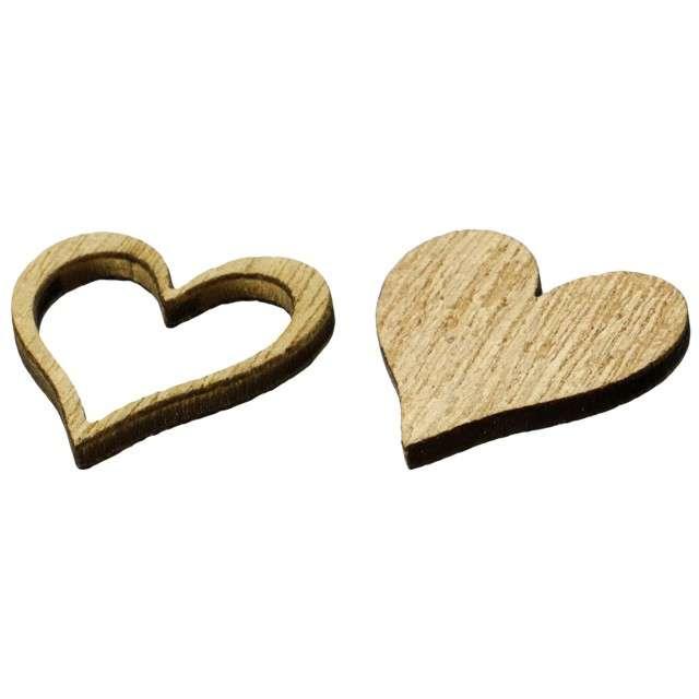Scrapki drewniane Serca pełne i kontury naturalne 12 szt