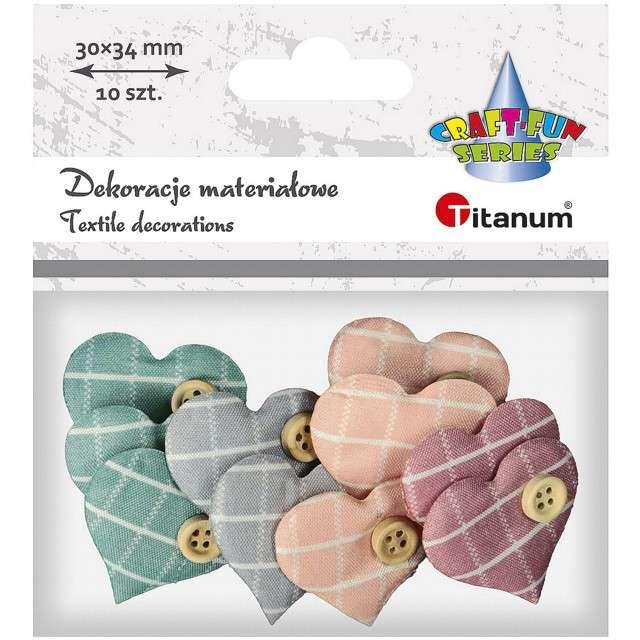Ozdoba Serduszko materiałowe z guzikiem pastel mix Titanum 10 szt
