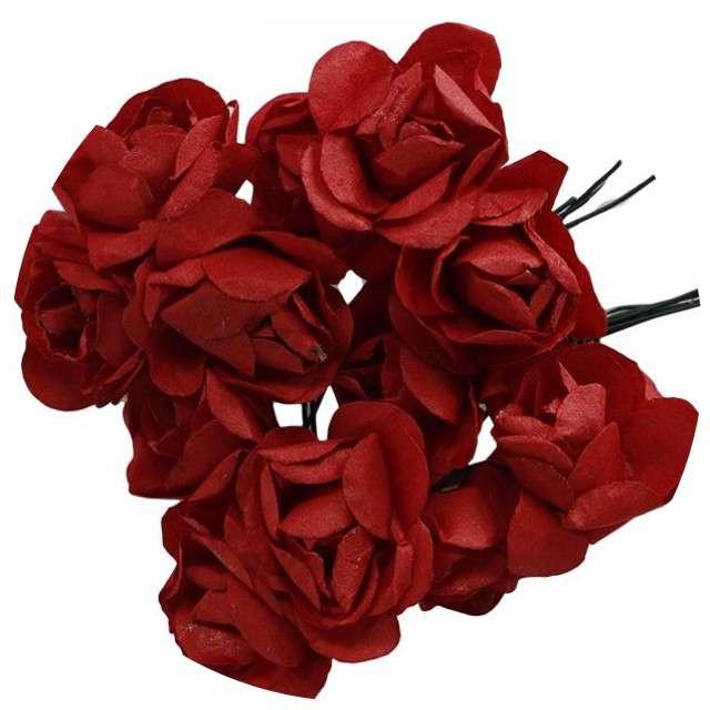 """Ozdoba """"Papierowe różyczki"""", czerwone, Titanum, 12 szt"""