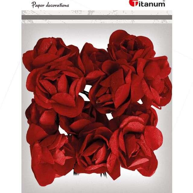 Ozdoba Papierowe różyczki czerwone Titanum 12 szt
