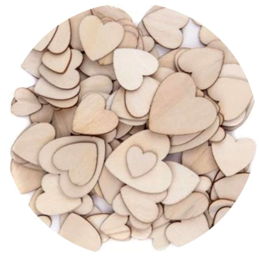 "Scrapki drewniane ""Serca MIX"", naturalne, 120 szt"