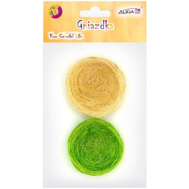 Gniazdka Dekoracyjne zielone i żółte ALIGA 6 szt.