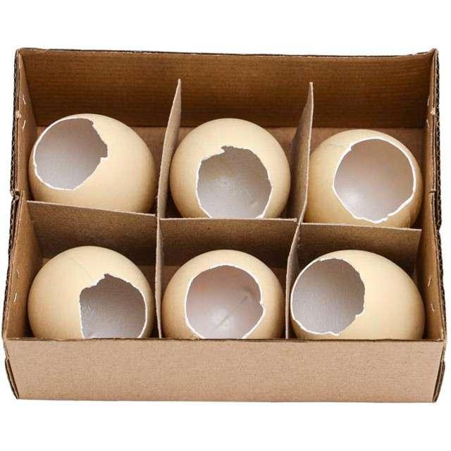"""Jajka """"Kurze-dekoracyjne"""", beżowe wydmuszki, ALIGA, 6 szt."""