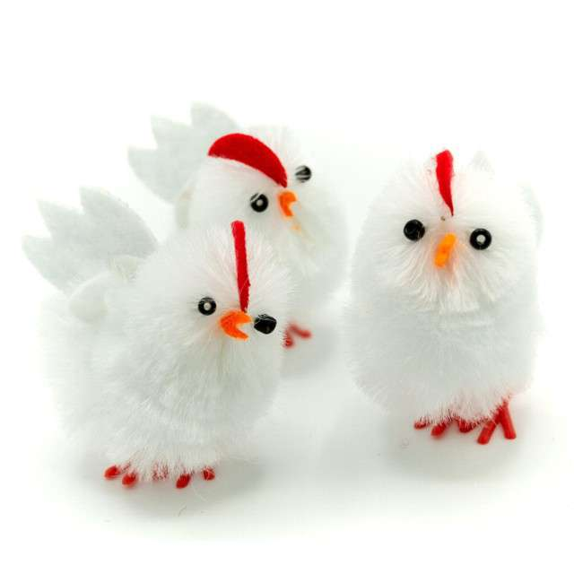 """Dekoracja """"Kurczaki białe"""", 4 cm, ALIGA, 3 szt"""