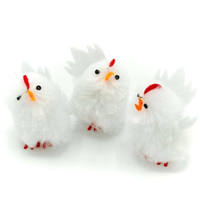 """Dekoracja """"Kurczaki białe"""", 5 cm, ALIGA, 3 szt"""