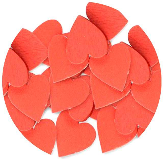 Scrapki drewniane Serca walentynkowe czerwone 30 szt