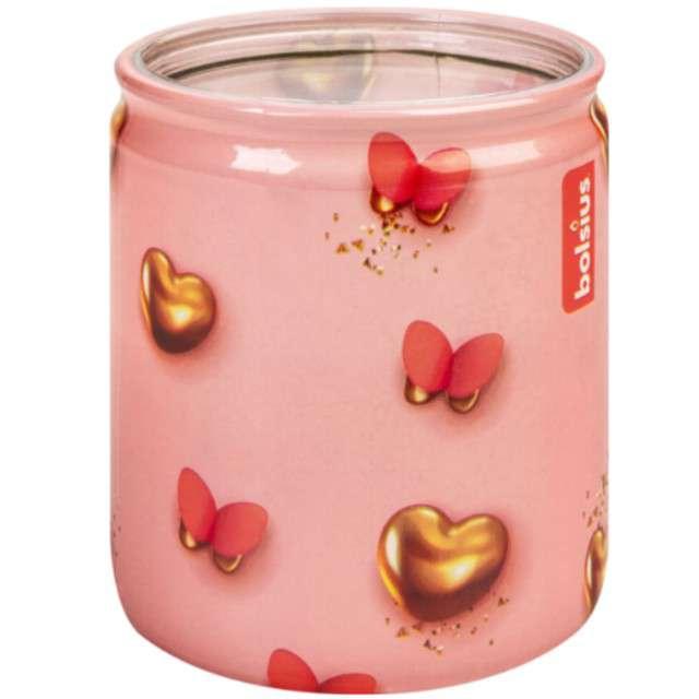"""Świeca w szkle """"Aromatyczna żurawina"""", róż, Bolsius, 82 mm"""