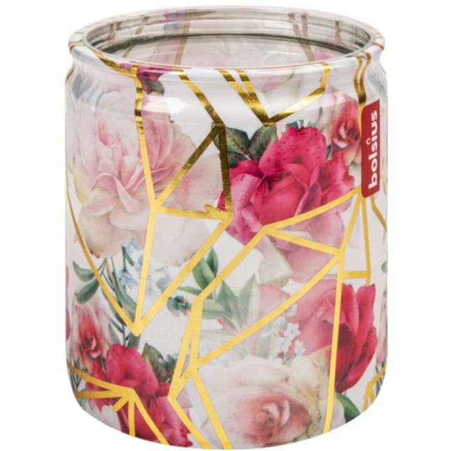 """Świeca w szkle """"Zimowy ogród"""", róż, Bolsius, 82 mm"""