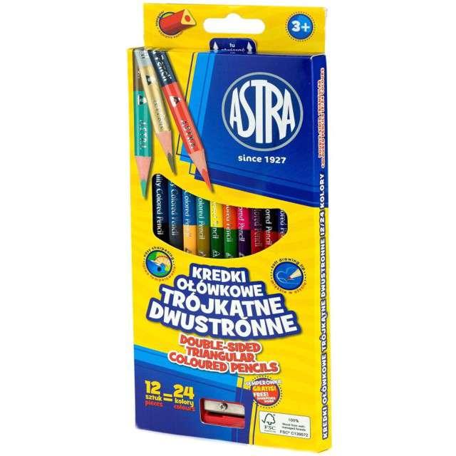 "Kredki ołówkowe ""Dwustronne - 24 kolory + temperówka"", mix, Astra, 12 szt"