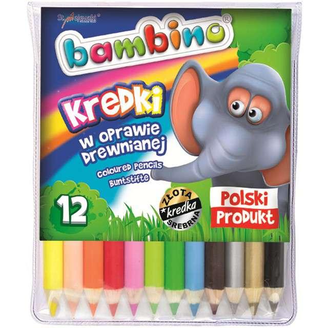 """Kredki ołówkowe """"Drewniane"""", mix, Bambino, 12 szt"""