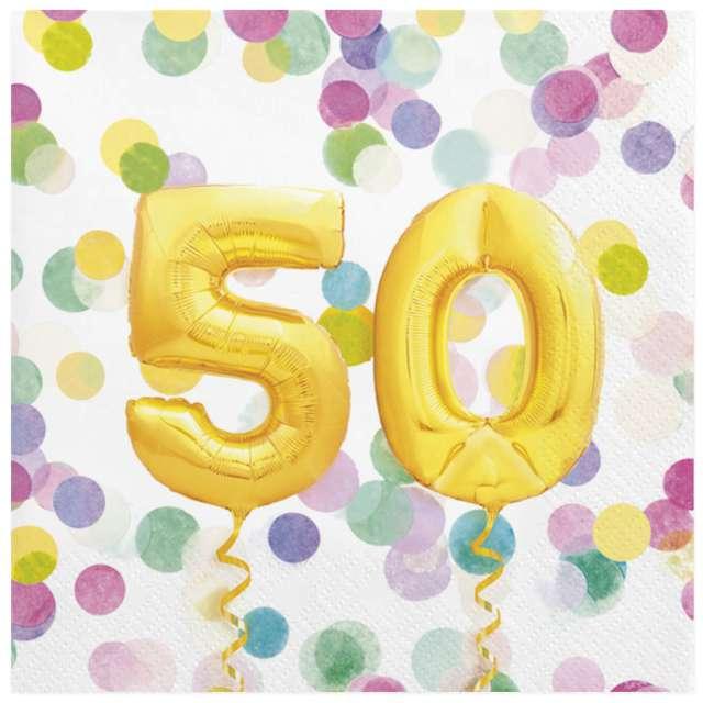 """Serwetki """"50 Urodziny - Balony"""", Maki, 33 cm, 20 szt"""
