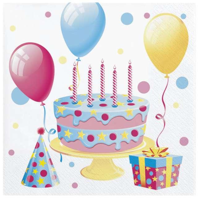 """Serwetki """"Urodzinowy tort i balony"""", Maki, 33 cm, 20 szt"""