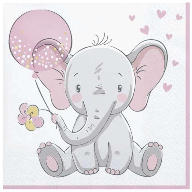 """Serwetki """"Mały słonik z różowym balonikiem"""", Maki, 33 cm, 20 szt"""