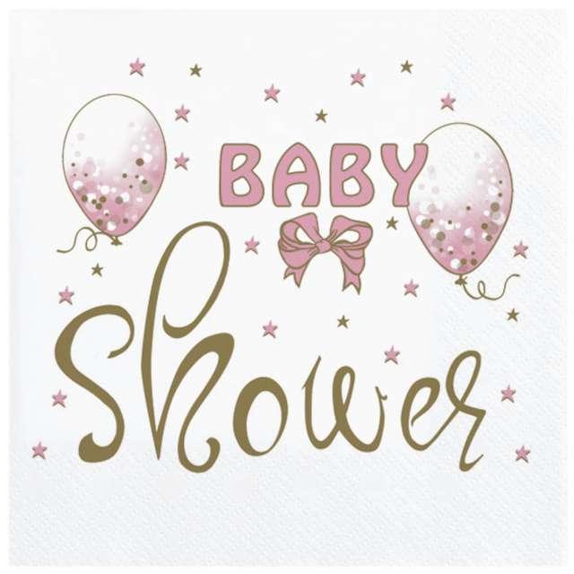 "Serwetki ""Baby Shower Girl - Baloniki"", Maki, 33 cm, 20 szt"