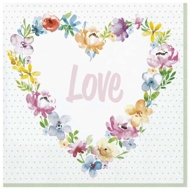 Serwetki Love - Kwieciste serce Maki 33 cm 20 szt