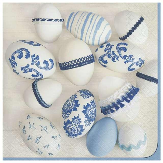 Serwetki Wielkanoc - Niebiesko białe pisanki Maki 33 cm 20 szt