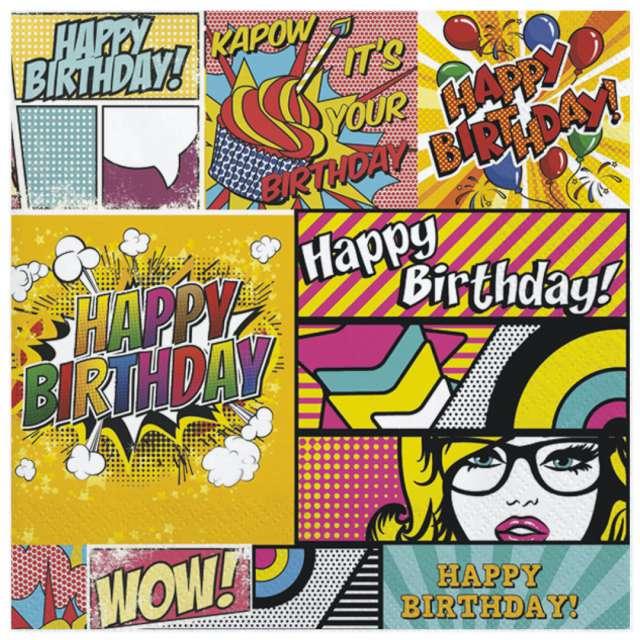 """Serwetki """"Komiksowe urodziny"""", Maki, 33 cm, 20 szt"""