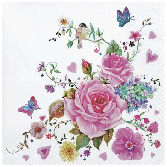 """Serwetki """"Kompozycja kwiatów i motyli"""", Maki, 33 cm, 20 szt"""