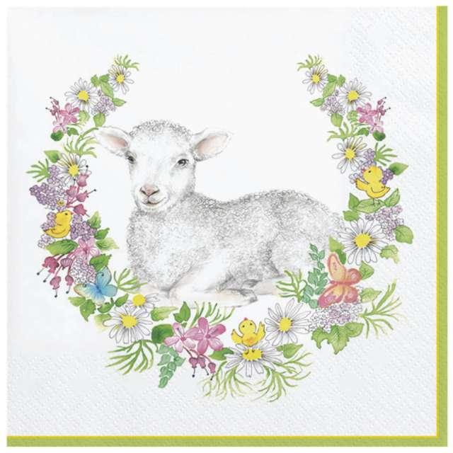 Serwetki Wielkanoc - Baranek i wieniec Maki 33 cm 20 szt